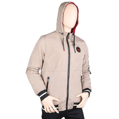 Men's Full Sleeves Double Side Hooded Jacket - Beige