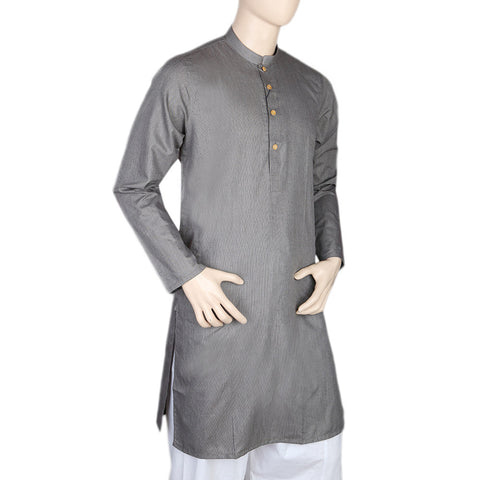 Mashriq Slim Fit Kurta For Men - Dark Grey