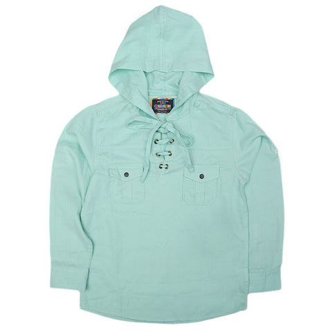 Boys Full Sleeves Hooded Shirt - Cyan
