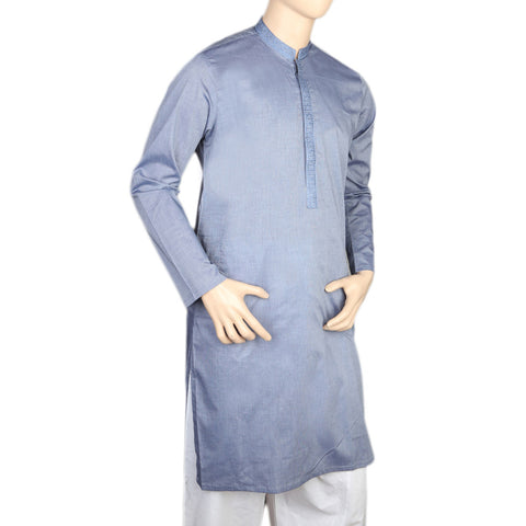 Eminent Embroidered Trim Fit Kurta For Men - Blue