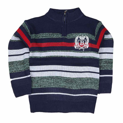 Boys Full Sleeves Sweater - Navy Blue