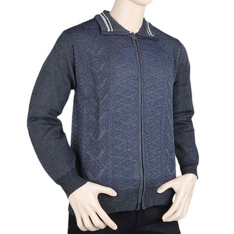 Men's Full Sleeves Zipper Upper - Dark Blue