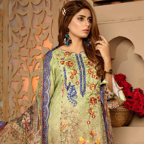 Royal Embroidered Viscose Jacquard 3 Piece Un-Stitched Suit - AY318