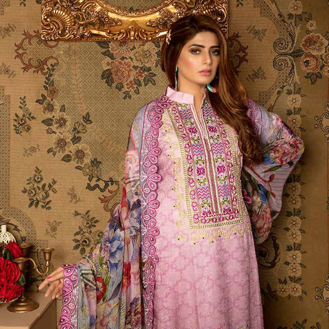 Royal Embroidered Viscose Jacquard 3 Piece Un-Stitched Suit - AY329