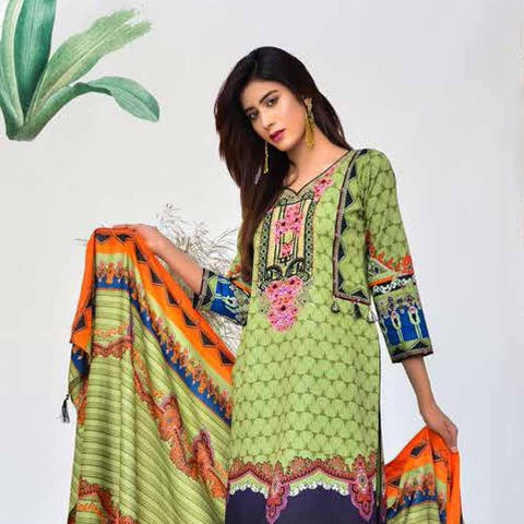 Cool Embroidered Khaddar 3 Piece Un-Stitched Suit - AY401 A