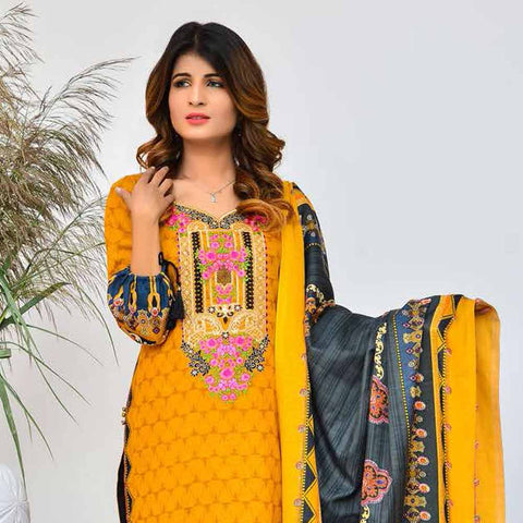 Cool Embroidered Khaddar 3 Piece Un-Stitched Suit - AY401 B