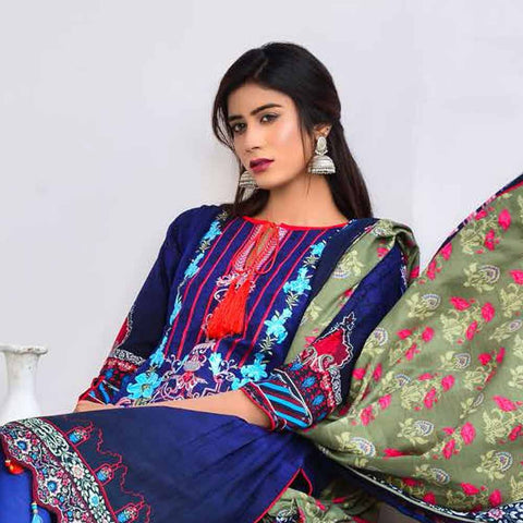 Cool Embroidered Khaddar 3 Piece Un-Stitched Suit - AY403 A