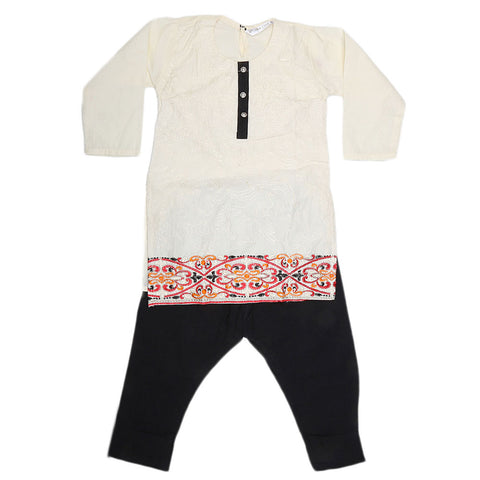 Girls Embroidered 2 Piece Suit - Fawn