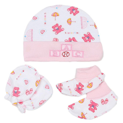 Newborn Cap Set 3 Pcs - Pink - test-store-for-chase-value