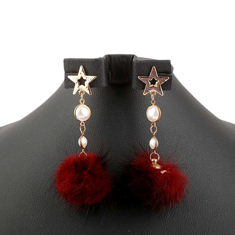 Women's Fur Earrings - Red - test-store-for-chase-value