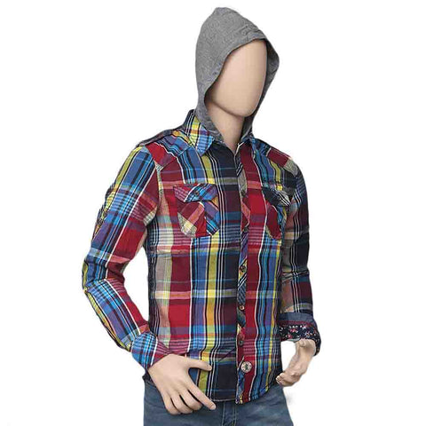 Men's Casual Hooded Shirt - Multi