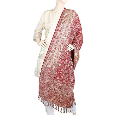 Women's Embroidered Shawl - Maroon