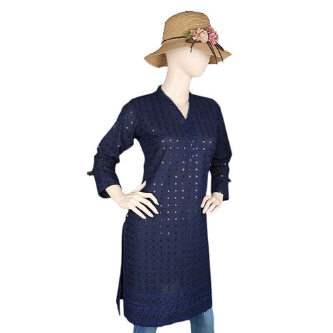 Women's Fancy Chikan Kurti - Navy Blue