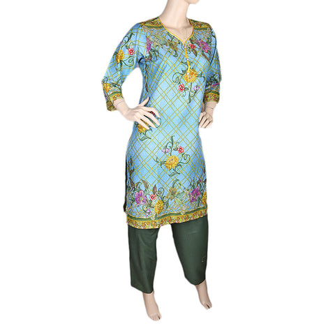 Women's Printed Lawn 2 Pcs Stitched Suit - Multi