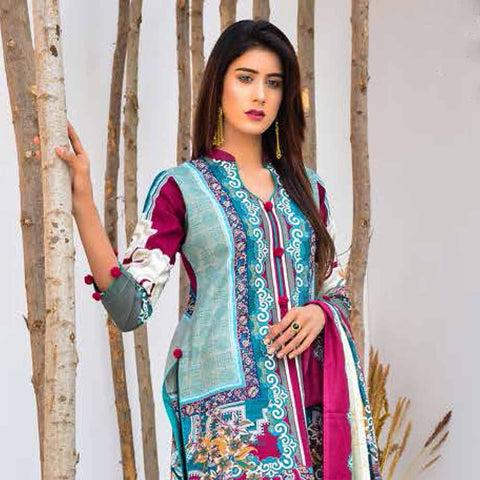 Cool Embroidered Khaddar 3 Piece Un-Stitched Suit - BKR409 A