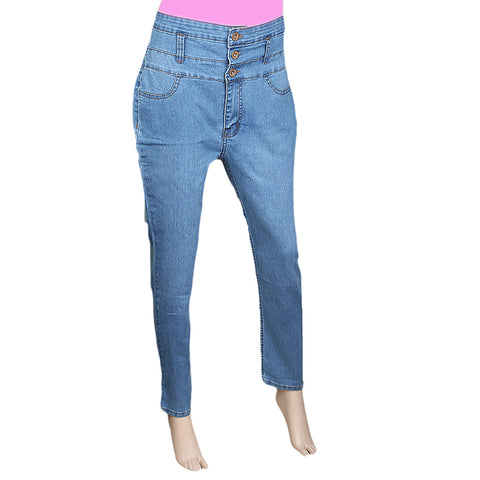 Women's Denim High Waist Pant - Light Blue