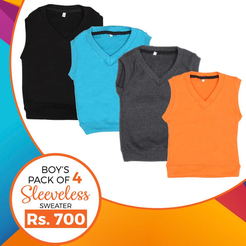 Boys Sleeveless Sweater Pack Of 4 - Multi