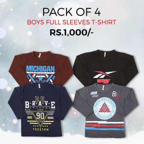 Boys Full Sleeves T-Shirts Pack Of 4 - Multi
