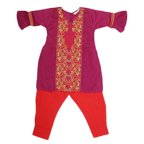 Girls Embroidered 2 Piece Suit - Purple