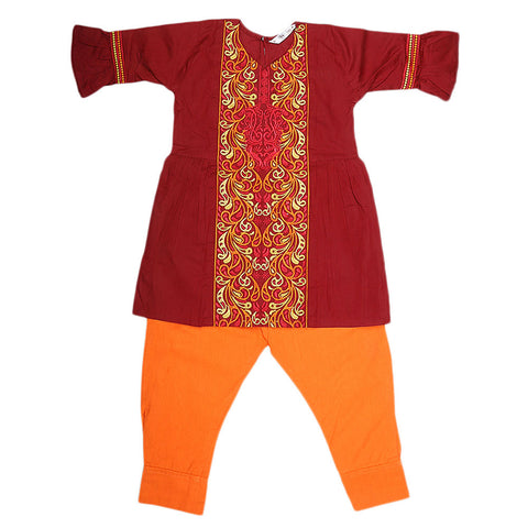 Girls Embroidered 2 Piece Suit - Maroon