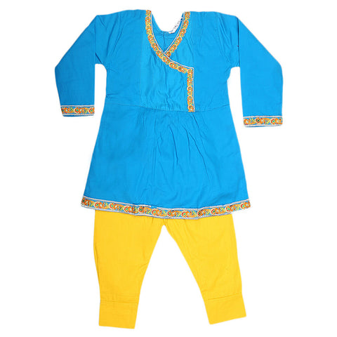 Girls Embroidered 2 Piece Suit - Blue