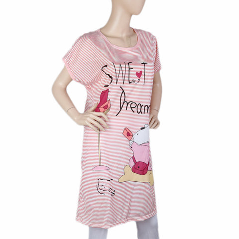 Women's Night Long T Shirt - T Pink