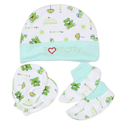 Newborn Cap Set 3 Pcs - Cyan - test-store-for-chase-value