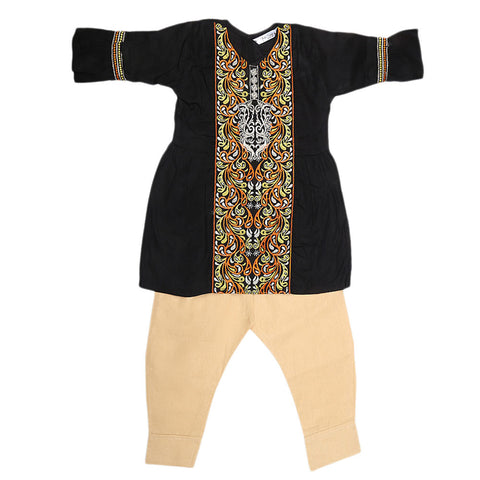 Girls Embroidered 2 Piece Suit - Black