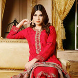 Destiny Embroidered Linen 3 Piece Semi-Stitched Suit - 8508
