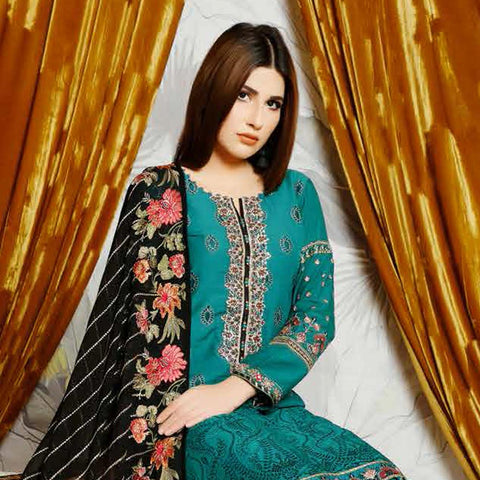 Destiny Embroidered Linen 3 Piece Semi-Stitched Suit - 8509