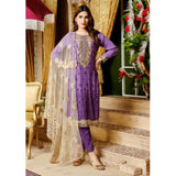 Destiny Embroidered Linen 3 Piece Semi-Stitched Suit - 8510