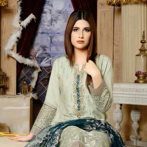 Destiny Embroidered Linen 3 Piece Semi-Stitched Suit - 8512