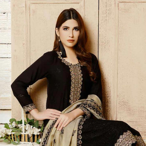 Destiny Embroidered Linen 3 Piece Semi-Stitched Suit - 8513