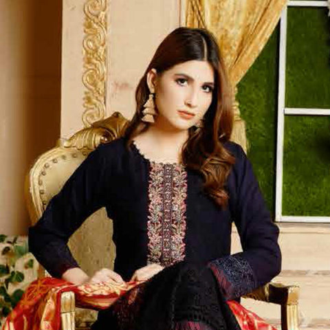 Destiny Embroidered Linen 3 Piece Semi-Stitched Suit - 8514