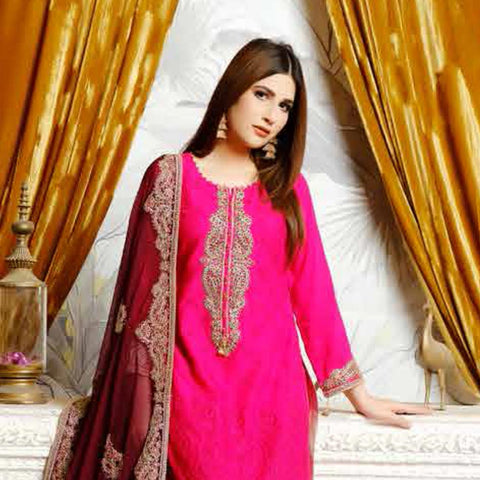 Destiny Embroidered Linen 3 Piece Semi-Stitched Suit - 8515