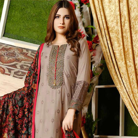 Destiny Embroidered Linen 3 Piece Semi-Stitched Suit - 8516