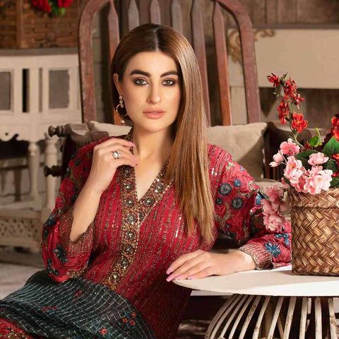 Floraison Embroidered Chiffon 3 Piece Semi-Stitched Suit - 8580