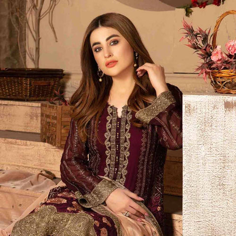 Floraison Embroidered Chiffon 3 Piece Semi-Stitched Suit - 8581