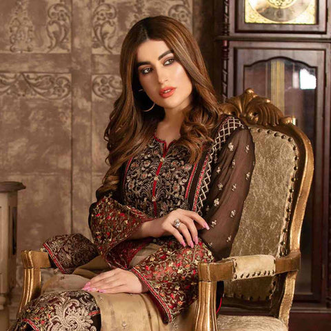 Floraison Embroidered Chiffon 3 Piece Semi-Stitched Suit - 8582
