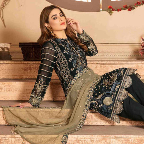 Floraison Embroidered Chiffon 3 Piece Semi-Stitched Suit - 8583