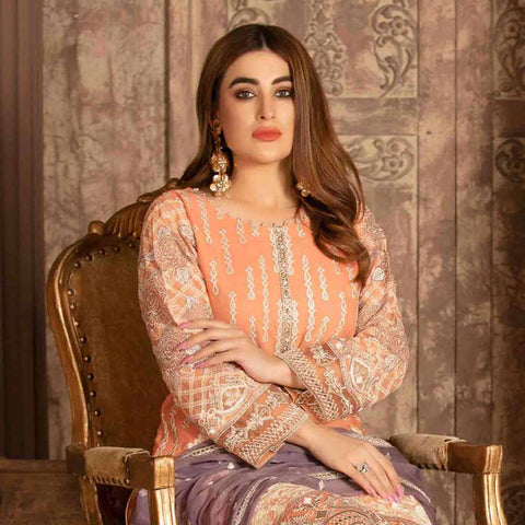 Floraison Embroidered Chiffon 3 Piece Semi-Stitched Suit - 8584