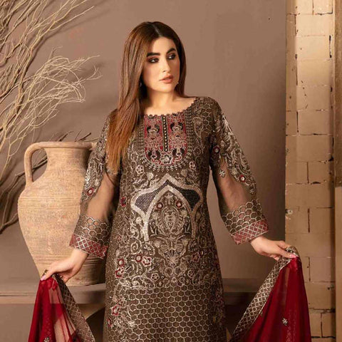 Floraison Embroidered Chiffon 3 Piece Semi-Stitched Suit - 8586