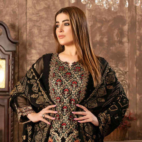 Floraison Embroidered Chiffon 3 Piece Semi-Stitched Suit - 8587