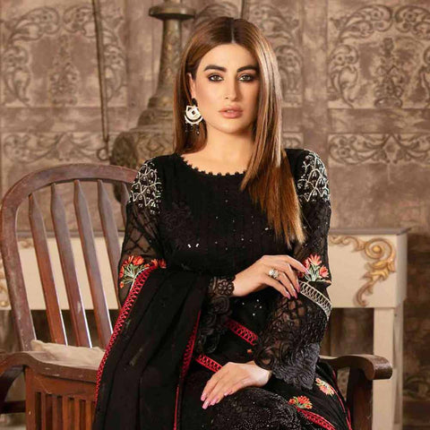 Floraison Embroidered Chiffon 3 Piece Semi-Stitched Suit - 8588