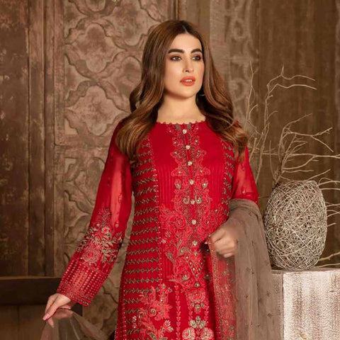 Floraison Embroidered Chiffon 3 Piece Semi-Stitched Suit - 8589
