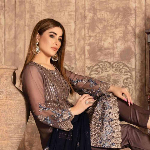 Floraison Embroidered Chiffon 3 Piece Semi-Stitched Suit - 8590