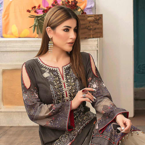 Belle Embroidered Lawn 3 Piece Un-Stitched Suit - 8792