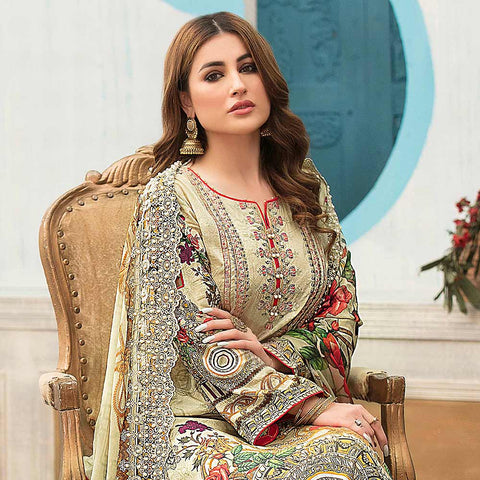 Belle Embroidered Lawn 3 Piece Un-Stitched Suit - 8793