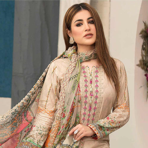 Belle Embroidered Lawn 3 Piece Un-Stitched Suit - 8796