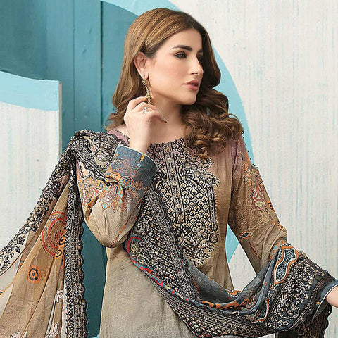 Belle Embroidered Lawn 3 Piece Un-Stitched Suit - 8798